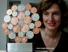 image:   Northumbria Rose / Mandala of real UK magnetic coins - Patagonia 2011